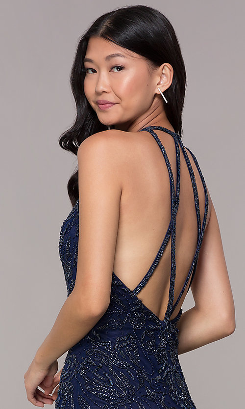 Image of caged-back midnight blue hoco dress by PromGirl. Style: PV-PL-115 Detail Image 2