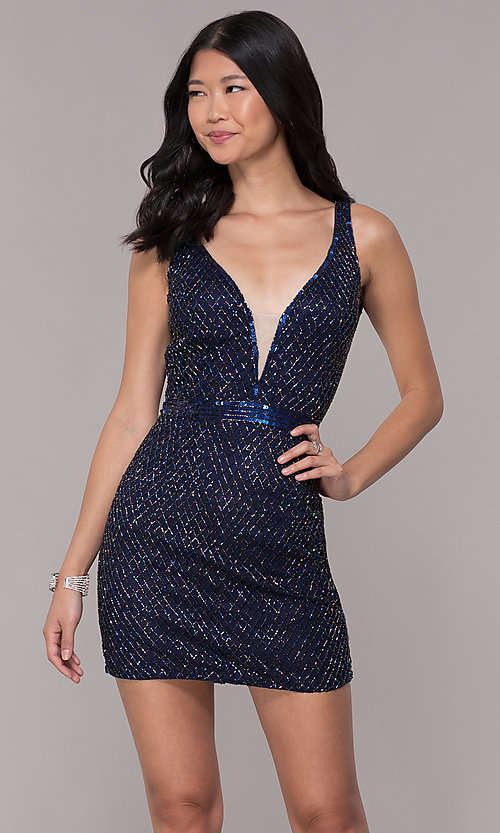 Image of blue short beaded-mesh homecoming dress by PromGirl. Style: PV-PL-117 Front Image