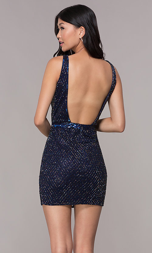 Image of blue short beaded-mesh homecoming dress by PromGirl. Style: PV-PL-117 Back Image