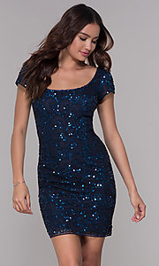 Image of navy blue sequin holiday dress with short sleeves. Style: SK-12195 Front Image
