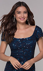 Image of navy blue sequin holiday dress with short sleeves. Style: SK-12195 Detail Image 1