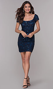 Image of navy blue sequin holiday dress with short sleeves. Style: SK-12195 Detail Image 3