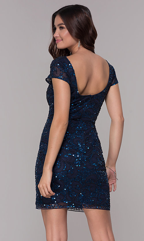 Image of navy blue sequin holiday dress with short sleeves. Style: SK-12195 Back Image