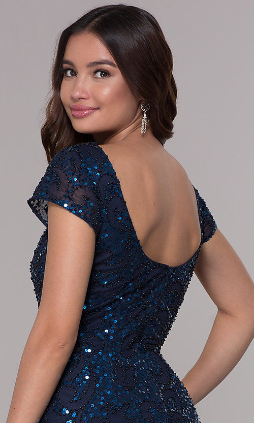 Image of navy blue sequin holiday dress with short sleeves. Style: SK-12195 Detail Image 2