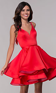 Image of red short fit-and-flare homecoming dress with bow. Style: FA-S10161 Front Image