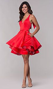 Image of red short fit-and-flare homecoming dress with bow. Style: FA-S10161 Detail Image 3