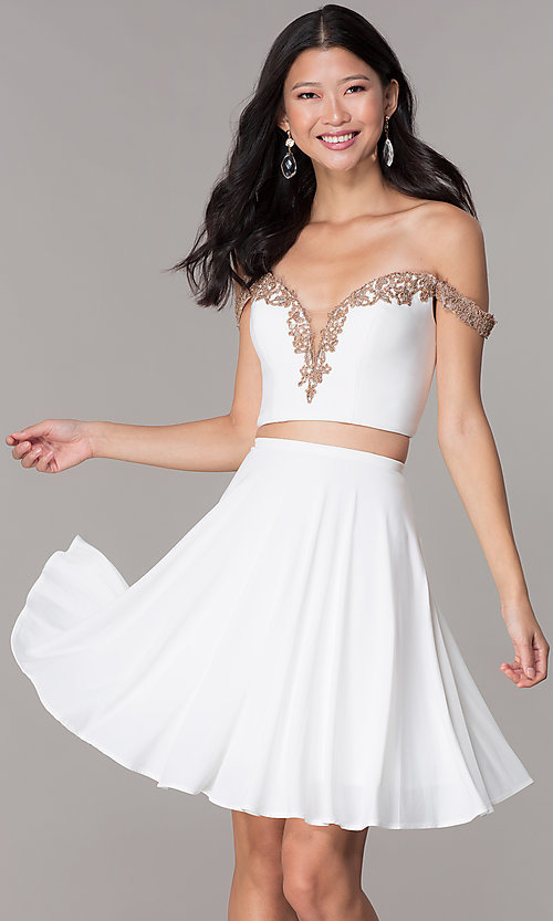 Image of short jersey two-piece Faviana homecoming dress. Style: FA-S10179 Front Image