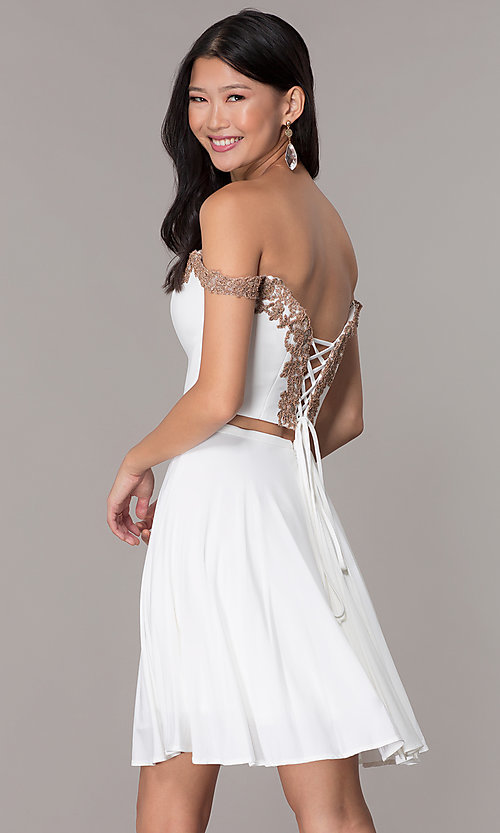 Image of short jersey two-piece Faviana homecoming dress. Style: FA-S10179 Back Image