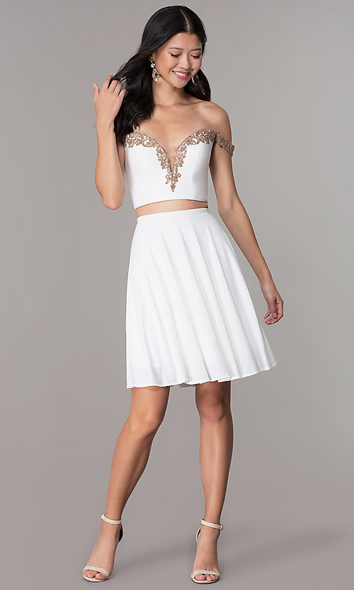 Image of short jersey two-piece Faviana homecoming dress. Style: FA-S10179 Detail Image 3