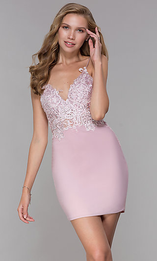 Short Mauve Pink Homecoming V-Neck Dress