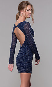 Image of short beaded sleeved homecoming dress by PromGirl. Style: PV-PL-119 Back Image