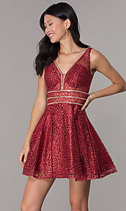 Image of short glitter-mesh v-neck homecoming dress. Style: DQ-3086 Detail Image 6