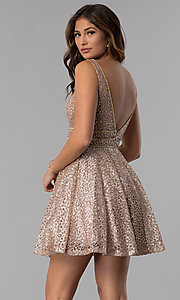 Image of short glitter-mesh v-neck homecoming dress. Style: DQ-3086 Back Image