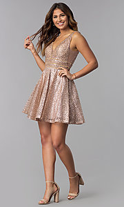 Image of short glitter-mesh v-neck homecoming dress. Style: DQ-3086 Detail Image 2