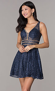 Image of short glitter-mesh v-neck homecoming dress. Style: DQ-3086 Detail Image 5