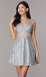 Image of short glitter-mesh v-neck homecoming dress. Style: DQ-3086 Detail Image 1