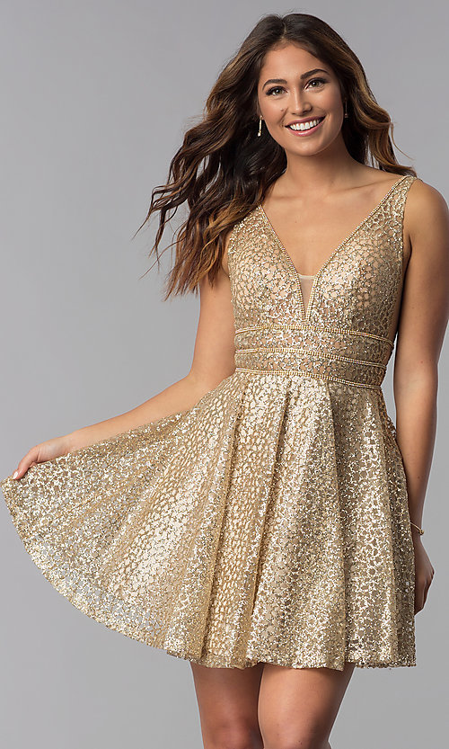 Image of short glitter-mesh v-neck homecoming dress. Style: DQ-3086 Front Image