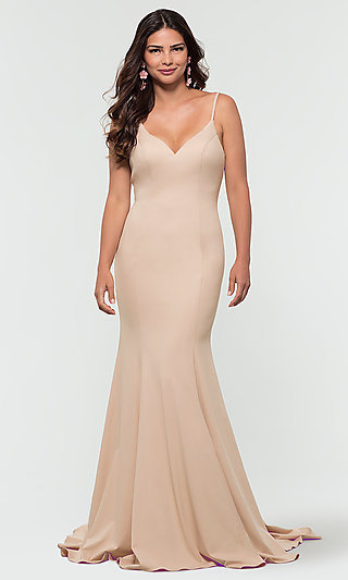 Back-Bow Kleinfeld Jersey Long Bridesmaid Dress