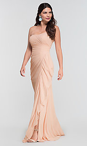 Image of ruched long bridesmaid dress with removable straps. Style: KL-200126 Detail Image 8