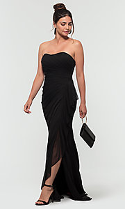 Image of ruched long bridesmaid dress with removable straps. Style: KL-200126 Detail Image 3