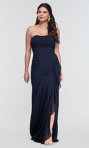 Image of ruched long bridesmaid dress with removable straps. Style: KL-200126 Detail Image 1