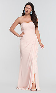 Image of ruched long bridesmaid dress with removable straps. Style: KL-200126 Detail Image 2