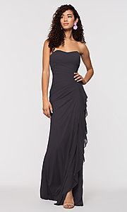 Image of ruched long bridesmaid dress with removable straps. Style: KL-200126 Detail Image 6