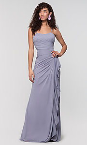 Image of ruched long bridesmaid dress with removable straps. Style: KL-200126 Detail Image 5
