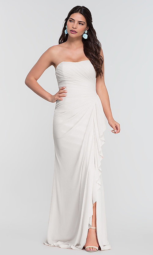 Image of ruched long bridesmaid dress with removable straps. Style: KL-200126 Detail Image 4