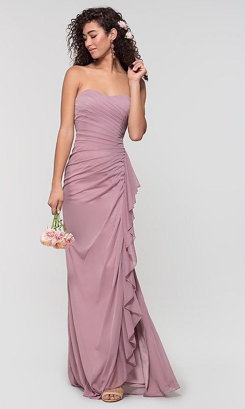 Image of ruched long bridesmaid dress with removable straps. Style: KL-200126 Front Image