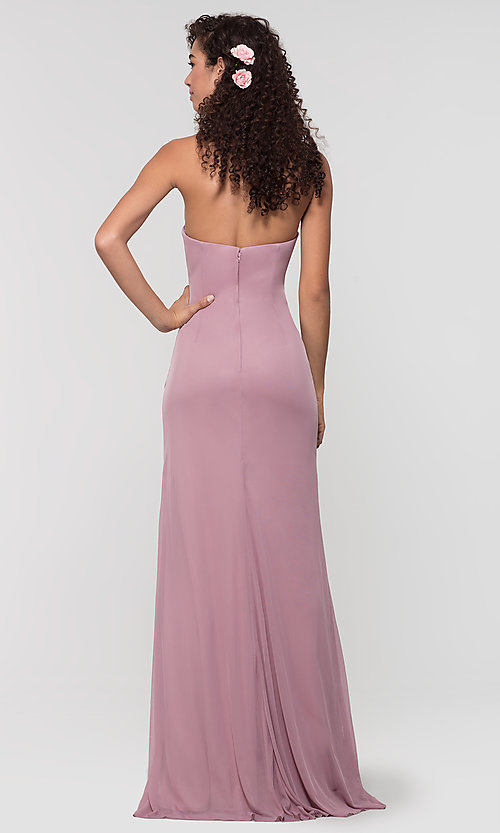 Image of ruched long bridesmaid dress with removable straps. Style: KL-200126 Back Image