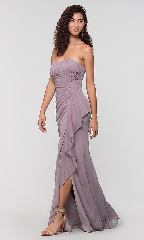 Image of ruched long bridesmaid dress with removable straps. Style: KL-200126 Detail Image 7
