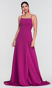 Image of corset-style open-back long bridesmaid dress. Style: KL-200129 Detail Image 3