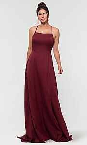 Image of corset-style open-back long bridesmaid dress. Style: KL-200129 Detail Image 6
