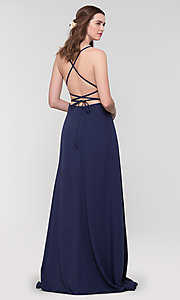 Image of corset-style open-back long bridesmaid dress. Style: KL-200129 Front Image