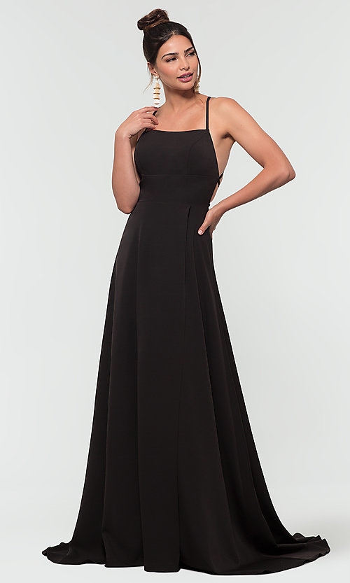 Image of corset-style open-back long bridesmaid dress. Style: KL-200129 Detail Image 5