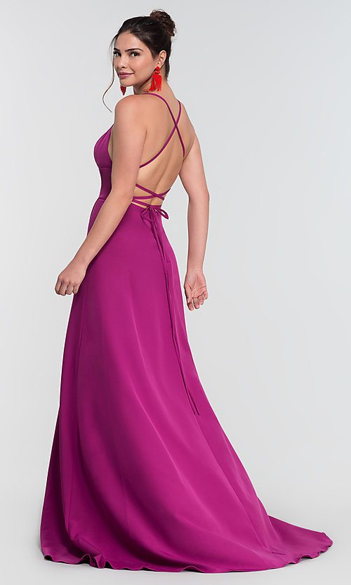 Image of corset-style open-back long bridesmaid dress. Style: KL-200129 Detail Image 4