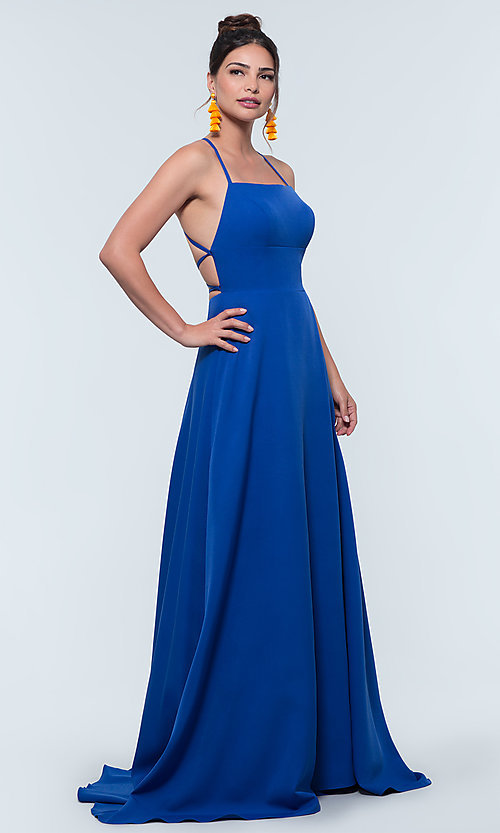 Image of corset-style open-back long bridesmaid dress. Style: KL-200129 Detail Image 1