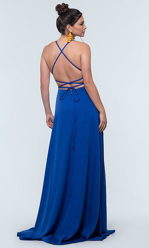 Image of corset-style open-back long bridesmaid dress. Style: KL-200129 Detail Image 2