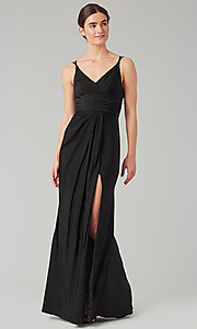 Image of long jersey bridesmaid dress with faux-wrap bodice. Style: KL-200131 Front Image