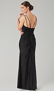 Image of long jersey bridesmaid dress with faux-wrap bodice. Style: KL-200131 Back Image