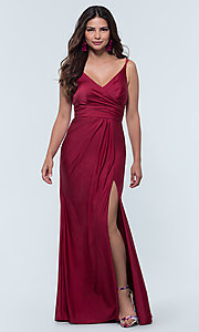 Image of long jersey bridesmaid dress with faux-wrap bodice. Style: KL-200131 Detail Image 2