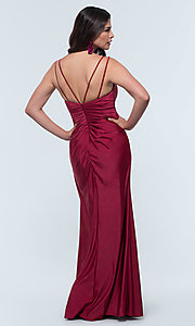 Image of long jersey bridesmaid dress with faux-wrap bodice. Style: KL-200131 Detail Image 3