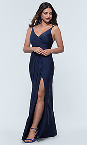Image of long jersey bridesmaid dress with faux-wrap bodice. Style: KL-200131 Detail Image 4