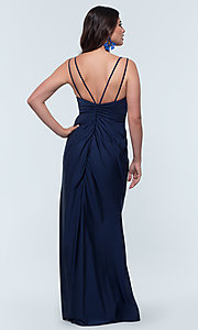 Image of long jersey bridesmaid dress with faux-wrap bodice. Style: KL-200131 Detail Image 5