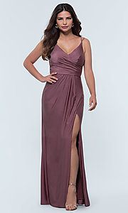 Image of long jersey bridesmaid dress with faux-wrap bodice. Style: KL-200131 Detail Image 6