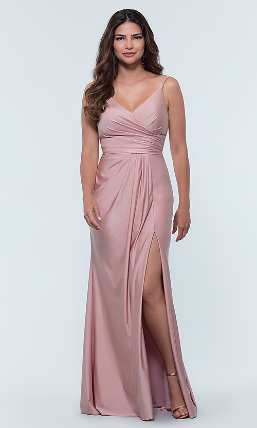 Image of long jersey bridesmaid dress with faux-wrap bodice. Style: KL-200131 Detail Image 1