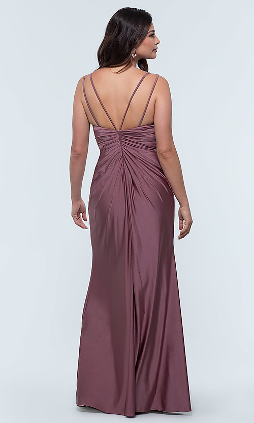 Image of long jersey bridesmaid dress with faux-wrap bodice. Style: KL-200131 Detail Image 7