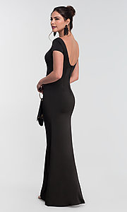Image of long bridesmaid dress with sleeves. Style: KL-200133 Back Image