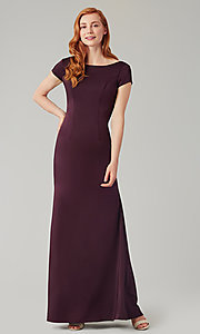 Image of long bridesmaid dress with sleeves. Style: KL-200133 Detail Image 7